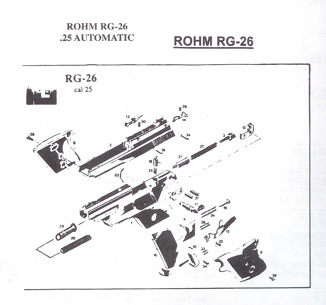 Rohm RG Revolver and Automatic Pistol Parts, German Pistol Parts, Bob's Gun  Shop, RG Gun Parts, Rohm Single Action Gun Parts, RG Rohm Derrigner Parts,  ...