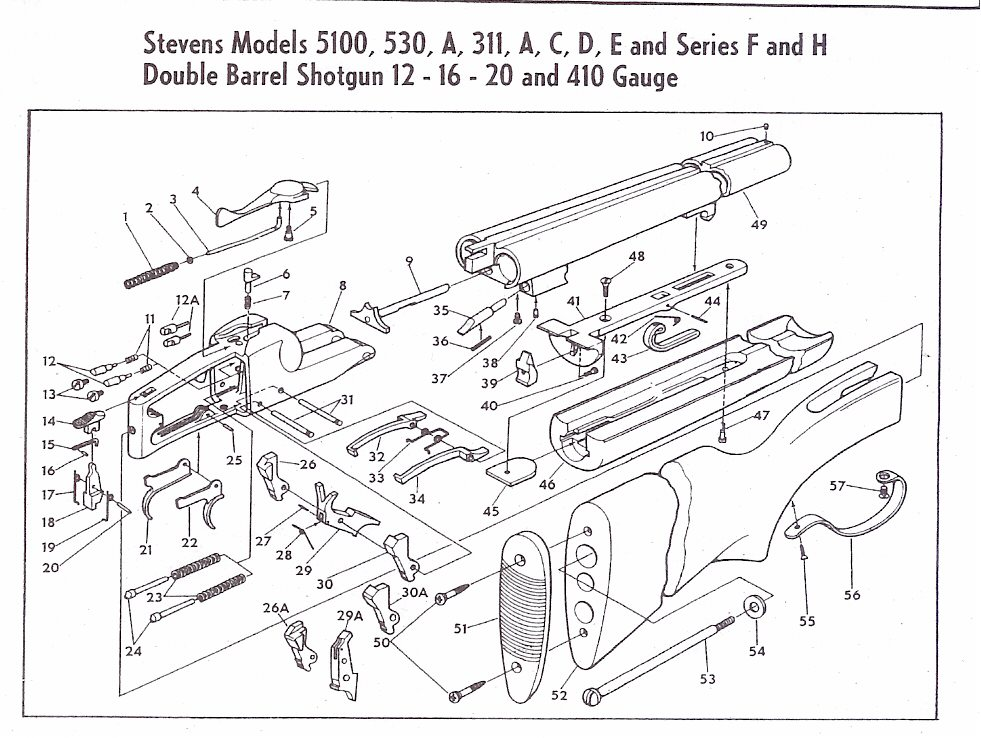 Value Of Springfield Model 67 Series B 20 Gauge Shotgun on savage 110 breakdown diagrams
